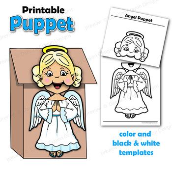 angel craft activity printable paper bag puppet template