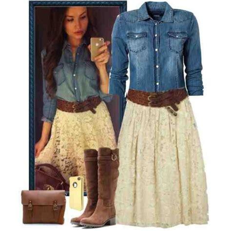 Skirt Dress, Country Style, Denim Shirt, White Lace Skirt