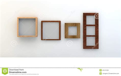 Different Types Of Empty Frames On A White Wall Stock