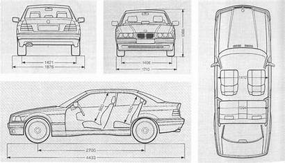 E36 Bmw Dimensions Coupe Detailed Razmery