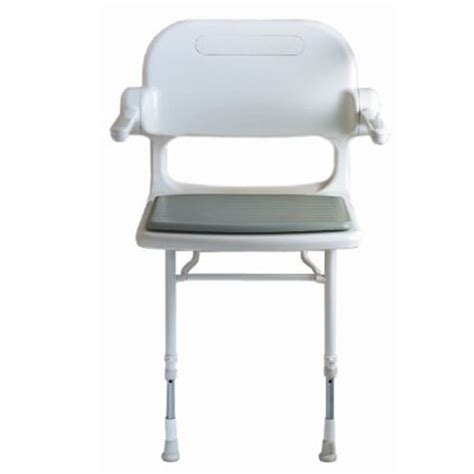 akw wall mounted fold up compact shower chair padded seat