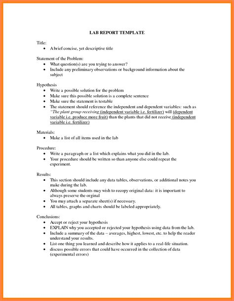 science lab report template  middle school