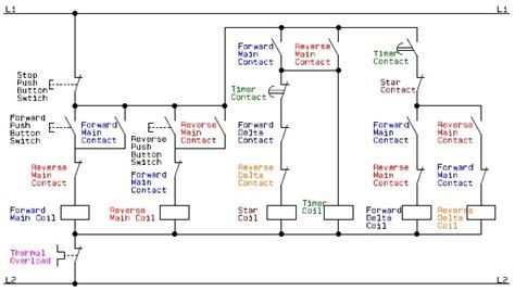 circuit of a delta or wye delta forward electric motor controller a basic