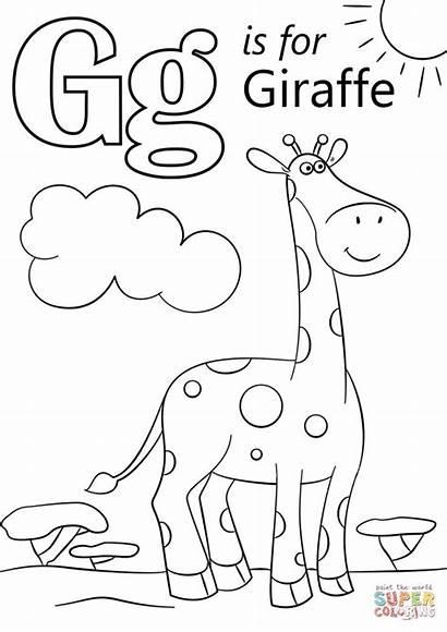 Letter Coloring Giraffe Printable Alphabet Preschool Sheets