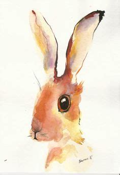 rainbow ears hare original colorful watercolor painting