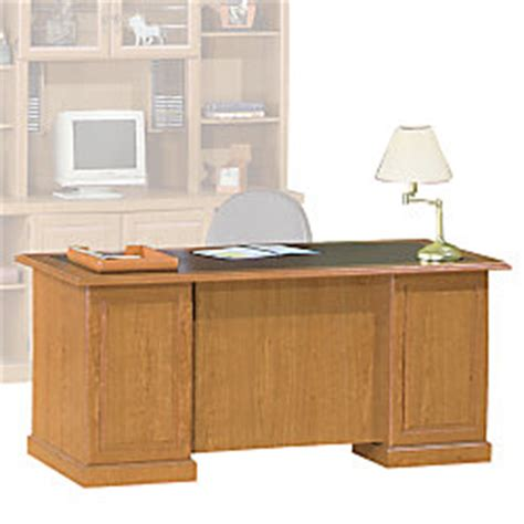 sauder heritage hill executive desk 65 12 wide bethel cherry by office depot officemax
