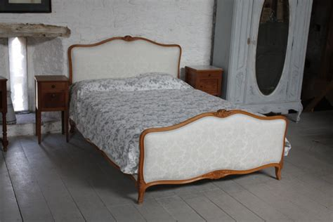 wood and fabric bed french king size upholstered bed louis xv style with wood frame and new fabric 194575