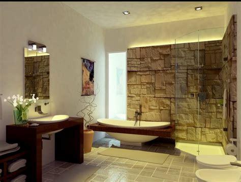 Freistehende Badewanne Die Moderne Badeinrichtungbadezimmer Mit Natursteinwand 2 by Badeinrichtung Ideen