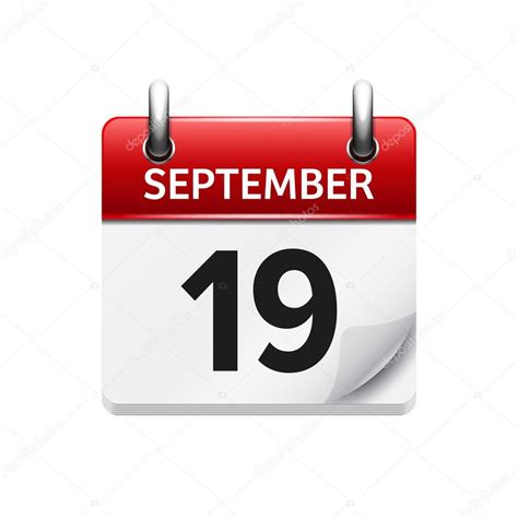 September 19 Vector Flat Daily Calendar Icon Date And