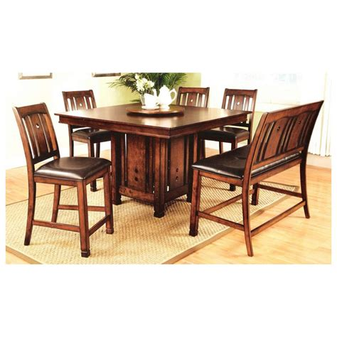 wood pedestal dining table set 7 pc dirty oak finish wood counter height square dining
