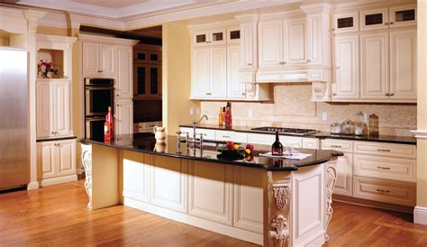 Amazing Design Of Cream Kitchen Cabinets With Carved Plush