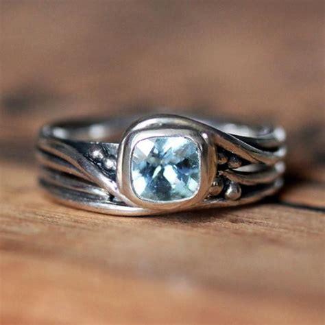 rustic engagement ring set aquamarine gemstone ring