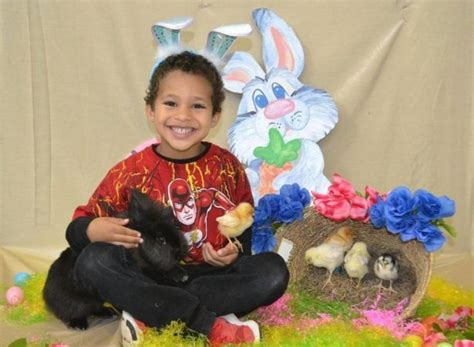 preschool amp daycare in temple the peanut gallery 674 | preschool boy enjoying chick and easter bunny at the peanut gallery temple tx 614x450