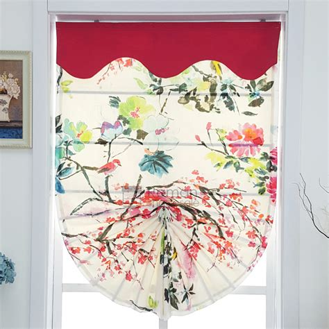 Classic Print Fan Shaped Roman Shades Fabric Cottonlinen