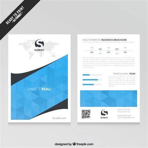 Brochures Templates Free Downloads by Blue Business Brochure Template Vector Free