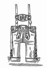 Lederhosen Illustrations Vector Clothing Bavarian Drawing Drawn Clip Illustration Hand Wearing Eps sketch template