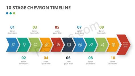 stage chevron timeline  powerpoint pslides