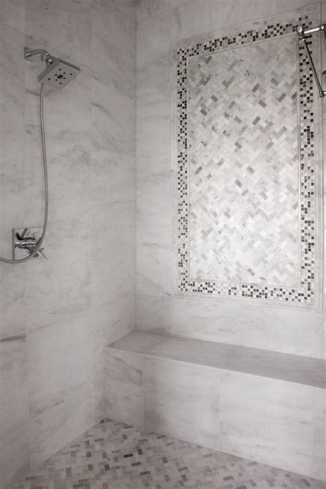 arabescato carrera marble tile shower niche transitional