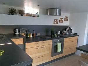 Cuisines Ikea 2018 : cuisine bois et plan de travail noir cuisine pinterest ~ Nature-et-papiers.com Idées de Décoration