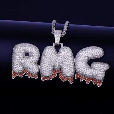 silver custom red drip bubble chain   silver