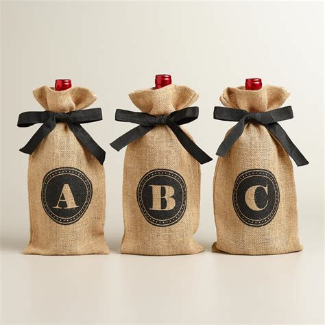 monogram jute wine bag collection world market