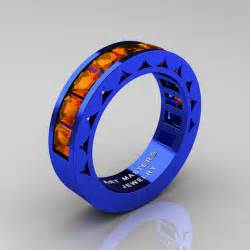 cool mens wedding bands mens modern italian 14k blue gold princess orange sapphire