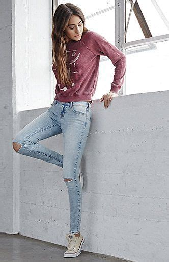 coral reef ripped mid rise skinny jeans ropa casual
