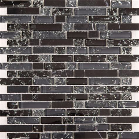 black grey glass black stone brick shape mosaic tile