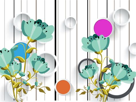 circle vector green floral mural da