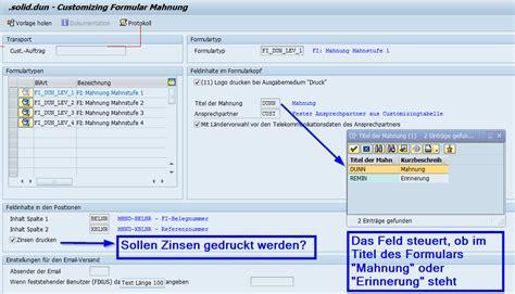 customize template formulary customizing sap formular mahnung solidforms