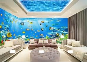 room wallpaper custom  woven murals fantasy undersea
