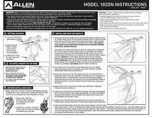 Allen Sports 102dn User Manual