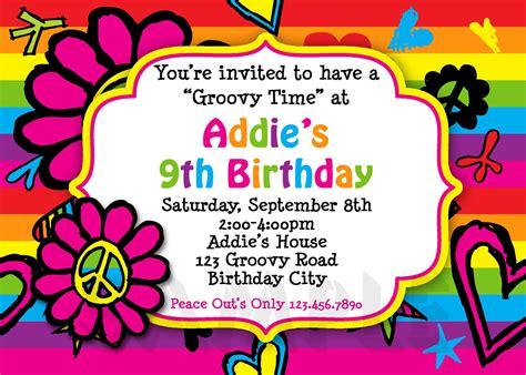 Free 10 Year Old Birthday Invitations Hippie birthday