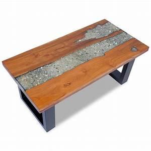 Table En Bois Et Resine : magnifique table basse teck resine 100 x 50 cm achat vente table basse magnifique table ~ Dode.kayakingforconservation.com Idées de Décoration
