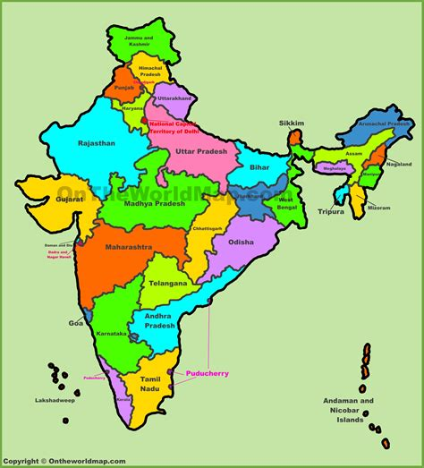 administrative map  india