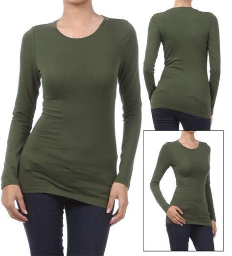Basic Long Sleeve Solid Top Womens Plain Cotton T Shirt