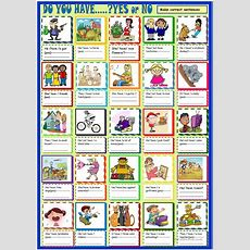 Do You Have? Yes  No Answers Worksheet  Free Esl