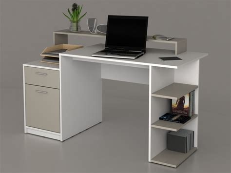 bureau blanc bureau zacharie 1 tiroir 1 porte blanc taupe