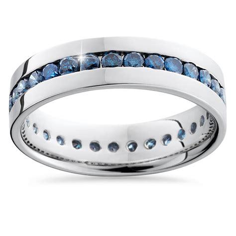 ct blue diamond channel set eternity mens wedding ring