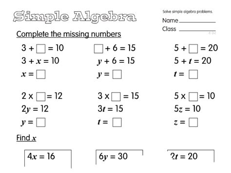2014 primary maths curriculum year 6 algebra worksheets