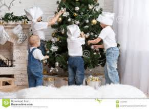 children decorate a christmas tree toys royalty free stock image image 34322106