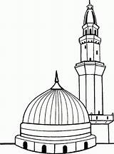 Kaaba Coloring Drawing Easy Masjid Nabawi Outline Template Sketch Coloriages Paint Aime Credit Larger Pas sketch template