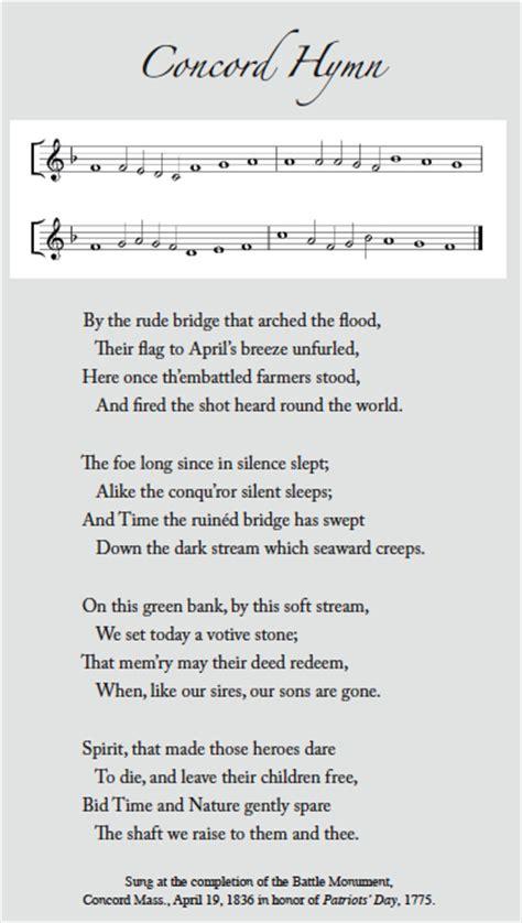 church boston history  concord hymn  emerson