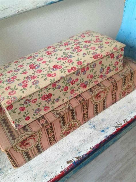 vintage covered boxes images  pinterest fabric covered boxes fabric boxes