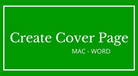 how to insert save cover page in microsoft word on mac