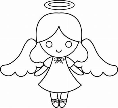 Angel Clip Colorable Coloring Line Sweetclipart