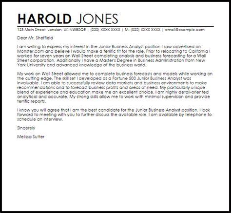 junior business analyst cover letter sample cover letter