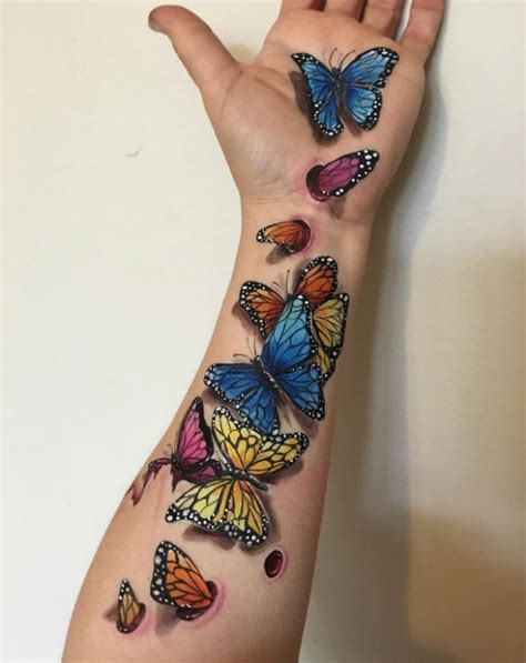 schmetterling arm viele schmetterlinge 3d farbig schmetterlinge tattoos designs und