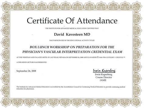certificate  attendance templates word excel templates