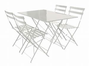 Table Pliante Metal : salon de jardin coco m tal blanc 1 table pliante et 4 ~ Teatrodelosmanantiales.com Idées de Décoration